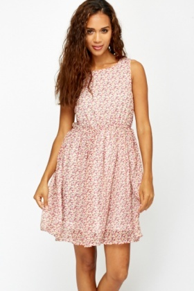 Cut Out Back Skater Floral Dress
