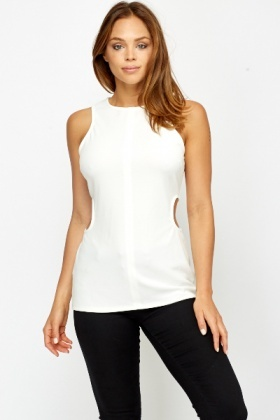 Cut Out Side White Top