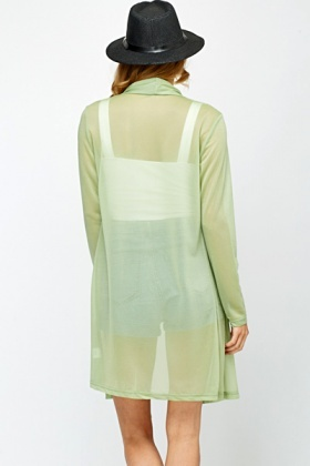 Sheer Olive Open Front Cardigan