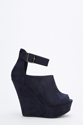 Suedette Ankle Strap Wedges