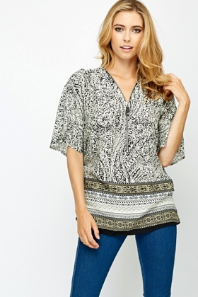 Large Zip Front Blouse