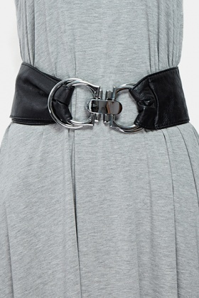 Wide Buckle Fastening Black Belt