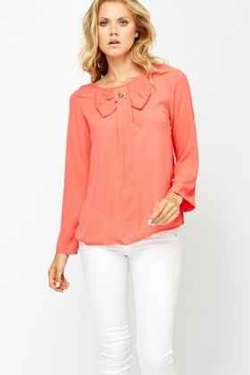 Encrusted Bow Front Sheer Blouse