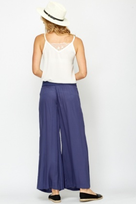 Light Weight Middle Blue Palazzo Trousers