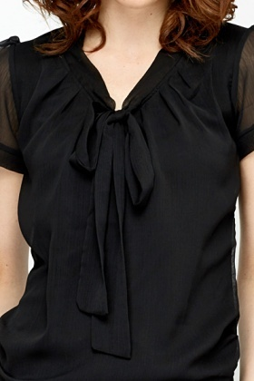 Navy Tie Up Blouse