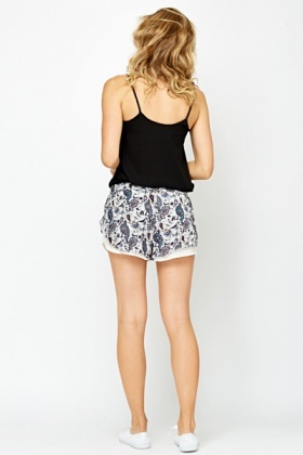 Paisley Contrast Runner Shorts