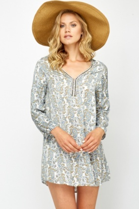 Paisley Encrusted Neck Tunic