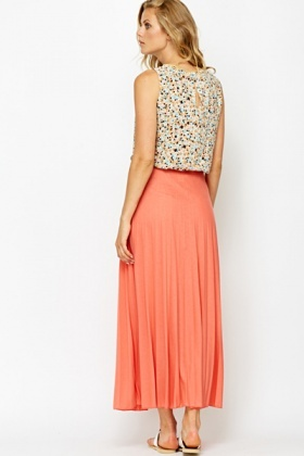 Pleated Coral Maxi Skirt - Just £5