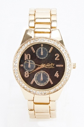 Large Encrusted Round Face Watch