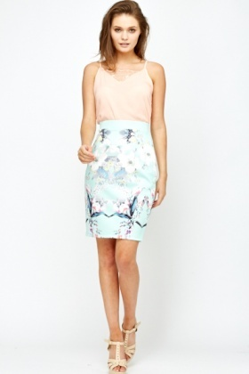 Mint Printed Scuba Skirt