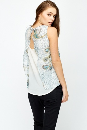 Paisley Split Back Top