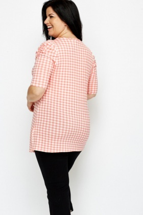 Ruched Sleeve Check Top