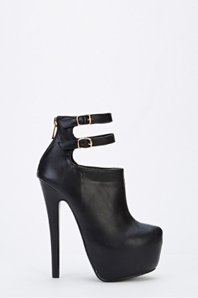Twin Strap Black High Heels