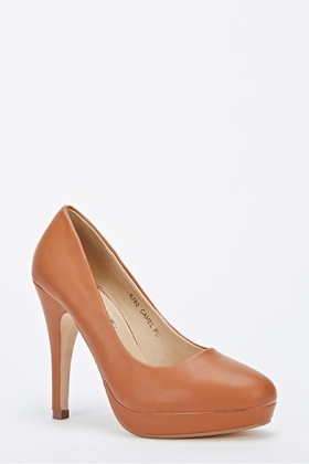 Camel Faux Leather Mid Heels