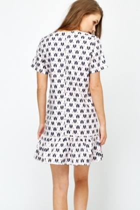 Lady Bird Print Flare Hem Dress
