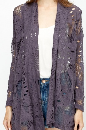 Middle Grey Open Front Cardigan