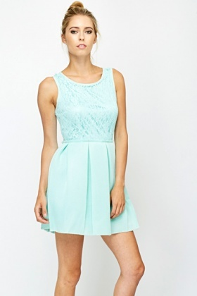 Mint Lace Bonded Skater Dress