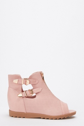 Double Strap Wedge Peep Toe Ankle Boots