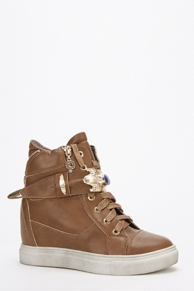 Faux Leather Wedge Trainers