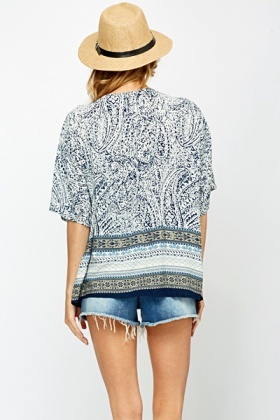Large Zip Front Printed Blouse