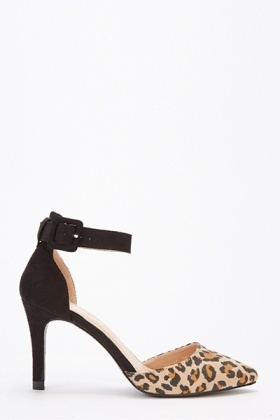 Leopard Print Ankle Strap Court Heels