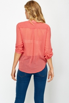 Red Polka Dot Wrap Blouse
