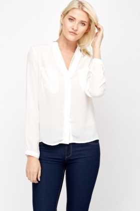 Bead Embellished V-Neck Blouse