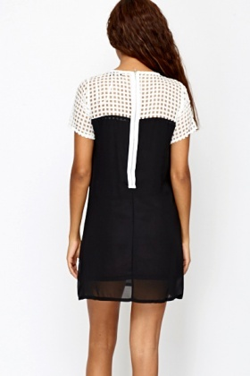 Black Contrast Mesh Yoke Shift Dress