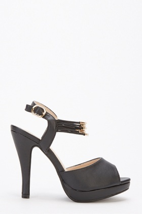 Gold Sling Back Open Toe Black Heels