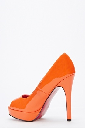 Orange High Open Toe Heels