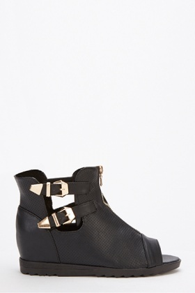 Black Double Buckle Ankle Strap Boots