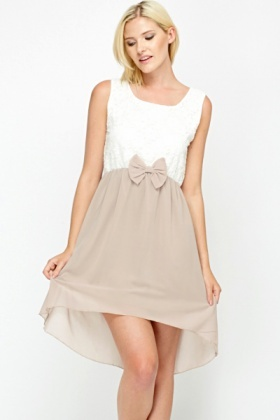 Bow Waist Dip Hem Dress