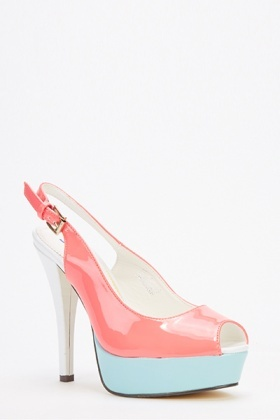 Colour Block Sling Back Heels