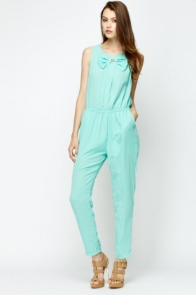 Encrusted Flower Bow Front Jumpsuit