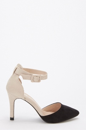 Two Tone Ankle Strap Court Shoe