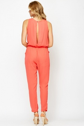 Water Melon Ruffle Front Jumpsuit