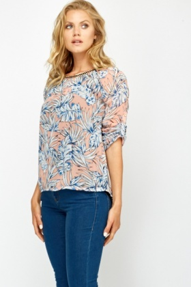 Contrast Insert Back Blouse
