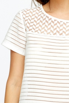 Geo Yoke Stripe Mesh Contrast Top