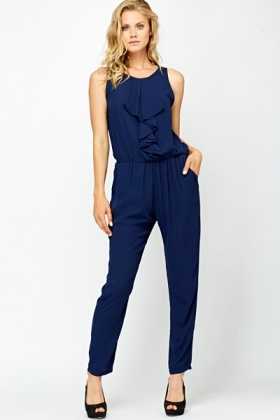 Navy Ruffle Front Jumpsuit