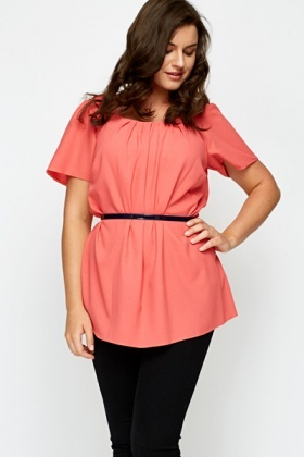 Pleat Neck Coral Top