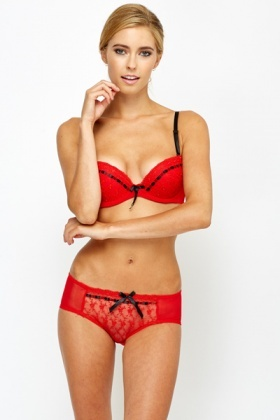 Ribbon Trim Bra And Brief Set
