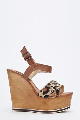 Leopard Studded Wedge Sandals