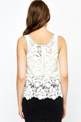 Off White Cotton Crochet Top