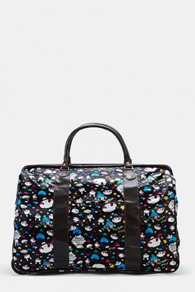 Panda Cartoon Graphic Travel Bag With Wheels