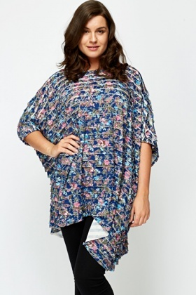 Blue Multi Floral Ruffle Top