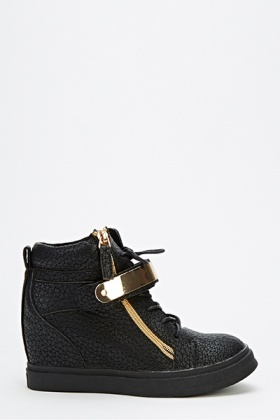 Gold Plate Wedge High Top Trainers