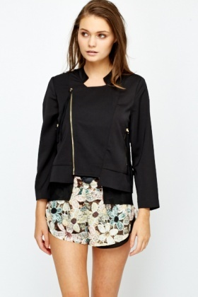 Chiffon Panel Blazer Jacket