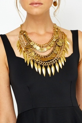 Multi Coin Chunky Necklace And Earring Set