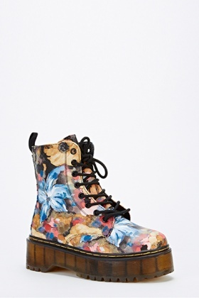 Brush Floral Chunky Sole Boots