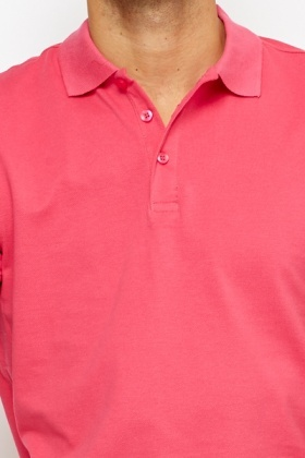 Button Neck Pink T-Shirt